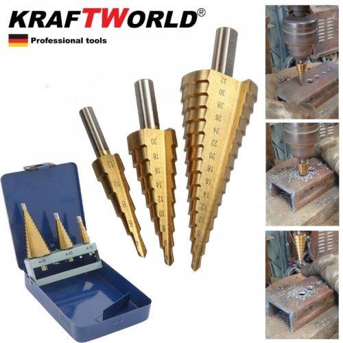 Немски конусни свредла стъпаловидни KraftWorld 4-32, 4-20, 4-12 бургии