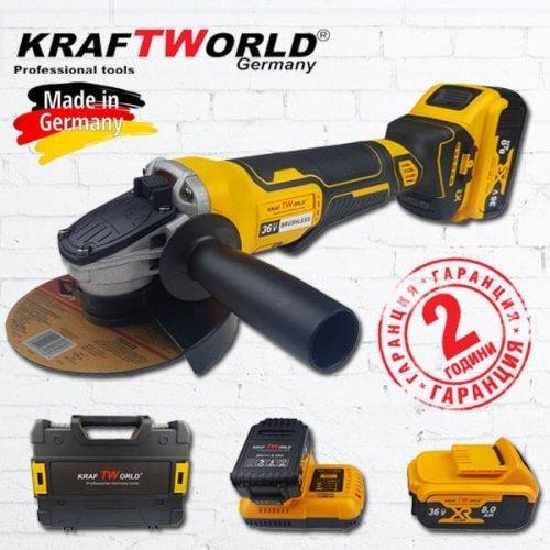 Немски Акумулаторен Безчетков Ъглошлайф KraftWorld 36V 8Ah + 2 Батерии и Зарядно с Куфар