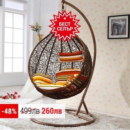 Висящ ратанов стол - Градинска люлка Moris водоустойчива