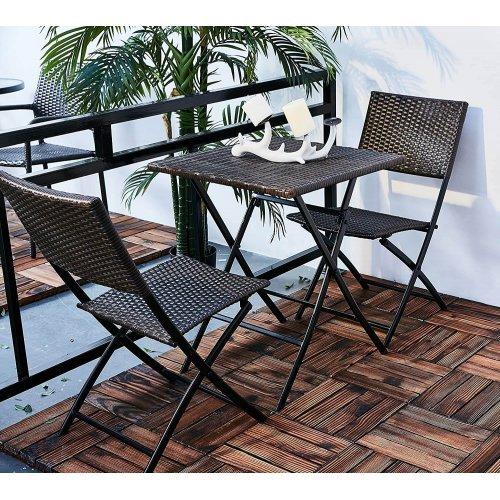 Градинска ратанов комплект - сгъваема маса и два сгъваеми стола