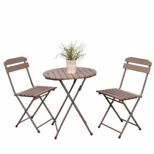 Градинска комплект - сгъваема маса и два сгъваеми стола дървени