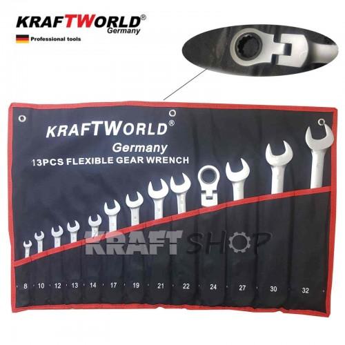 Звездогаечни тресчотни ключове  8-32мм KraftWorld с чупещо рамо