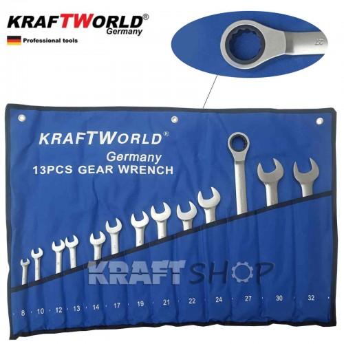 Звездогаечни тресчотни ключове 8-22мм KraftWorld