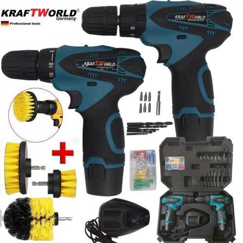 Комплект от акумулаторна бормашина и винтоверт 18V KraftWorld + Подарък 3бр. почистващи четки за винтоверт