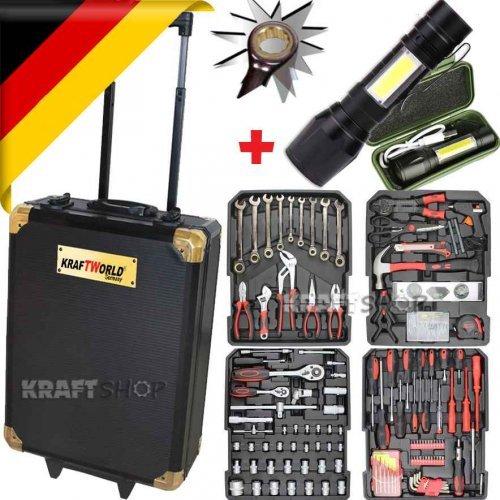 НЕМСКИ Куфар с инструменти 499 части KraftWorld + ПОДАРЪК  USB Фенер - тресчотка, ключове, отвертки