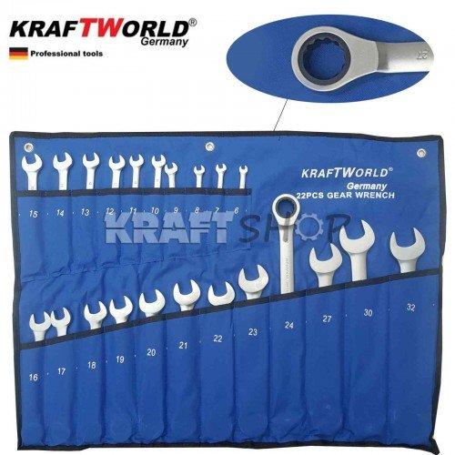 ПЪЛЕН КОМПЛЕКТ Немски Тресчотни ключове 22ч KraftWorld 6-32мм