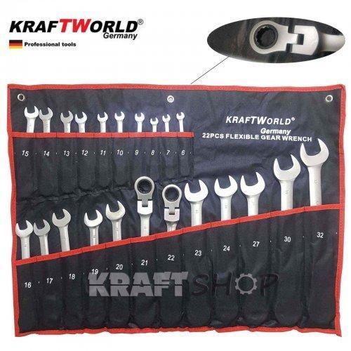 ПЪЛЕН КОМПЛЕКТ Немски Тресчотни ключове 22ч KraftWorld  6-32мм с чупещо рамо