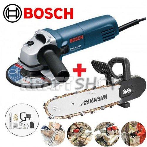 Професионален Ъглошлайф Bosch с  регулация обороти 1000W + Приставка кастрачка