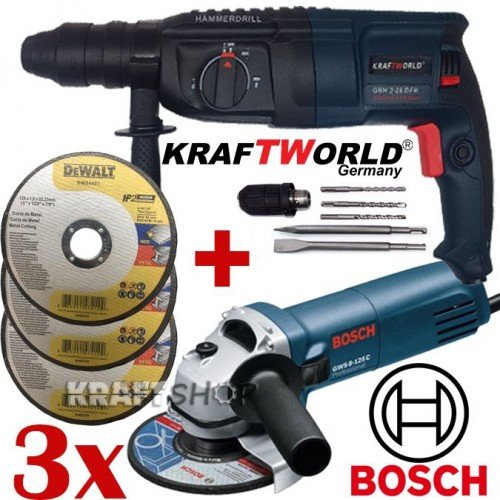 ПРОМО Перфоратор KraftWorld + Ъглошлайф Bosch + 3бр диск за метал Dewalt