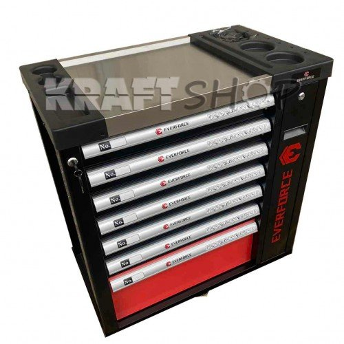 Нов Професионален Шкаф с инструменти EVERFORCE със 7 чекмеджета и отделение за закачане на инструменти