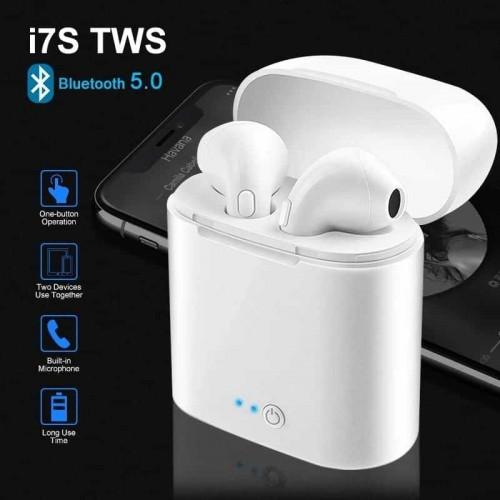 Безжични слушалки i7S tws, пълен комплект, с зарядна станция и кабел за зареждане