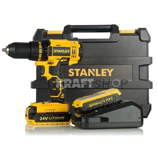 Винтоверт акумулаторен Stanley STDC1804 ударен 24V 2х6.0Ah Li-ion батерии, куфар