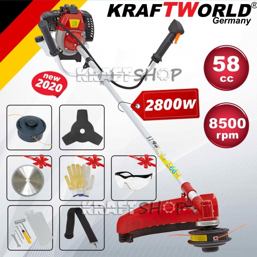 Бензинов Тример за трева KraftWorld 58 куб.  - Немски