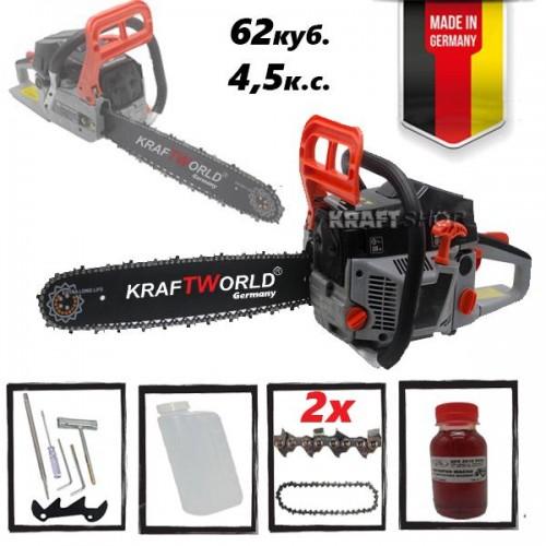 Резачка за дърва KraftWorld 62 куб. - Бензинов моторен трион 4,5к.с.