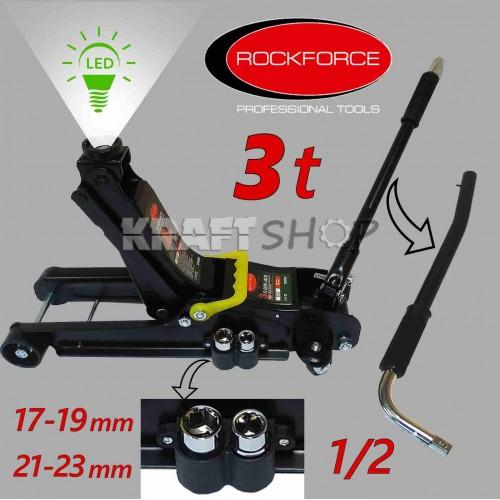 Хидравличен крик тип крокодил 3 тона RockForce + вложки  +LED лампа