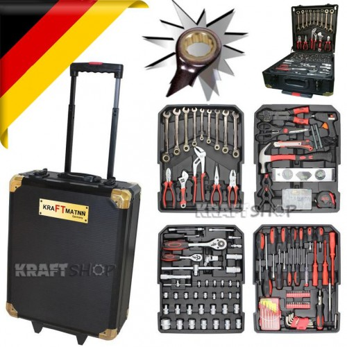 НЕМСКИ Куфар с инструменти 399 части Kraftman - тресчотка, ключове, отвертки