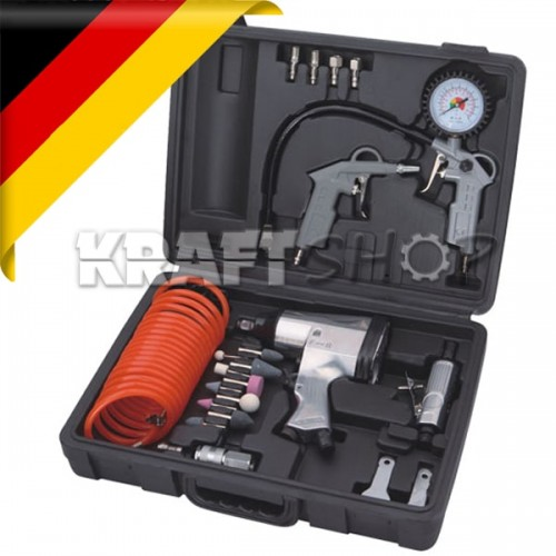 К-т Пневматични инструменти 27 части KraftWorld Germany - Гайковерт , маркуч , манометър , пистолет за гуми