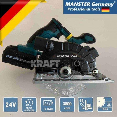 Акумулаторен циркуляр Manster Tools 24 V, 3А, Ø150mm, 2бр батерии и зарядно устройство