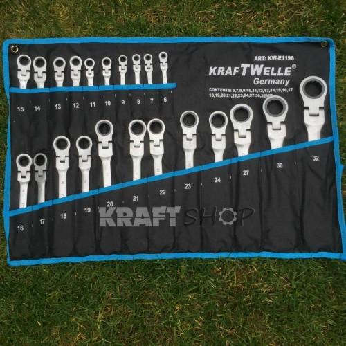 ПЪЛЕН КОМПЛЕКТ Немски Тресчотни ключове 22ч KrafTWelle  6-32мм с чупещо рамо