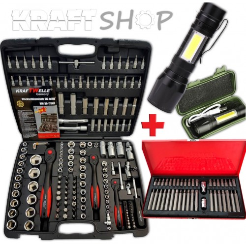 Гедоре 172 части KrafTWelle  + Накрайници 41 части + LED Джобен фенер