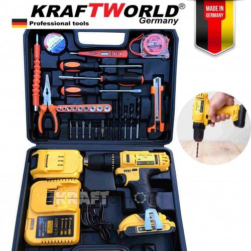 Бормашина винтоверт акумулаторна Kraft World 24V, 5.0 Ah батерии, зарядно устройство, в куфар