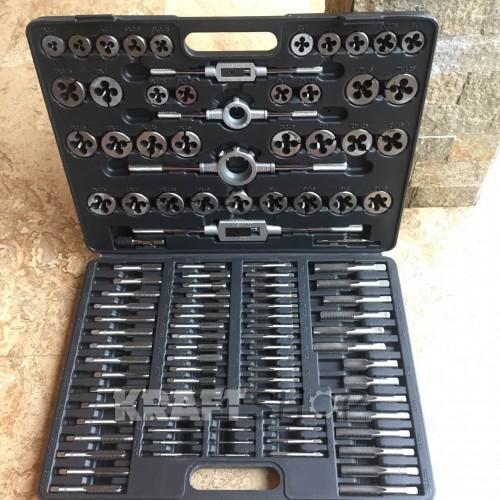 Комплект за нарязване на резби метчици и плашки -110 части KraftWelle