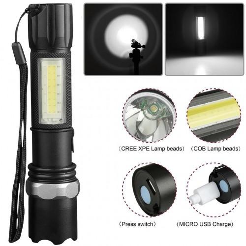 Фенер с COB LED светлина, зуум, 3 режима на работа, USB зареждане и кутийка за съхранение