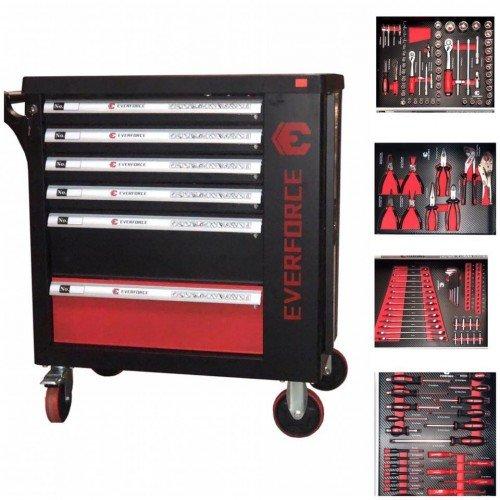 Шкаф с инструменти EVERFORCE с 6 чекмеджета и отделение за закачане на инструменти