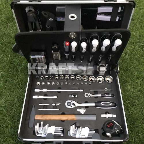 Обрудван алуминиев куфар с инструменти 149ч KraftWelle