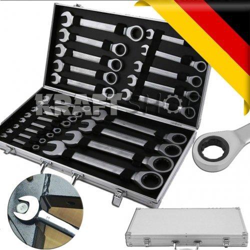 К-т звездогаечни прави тресчотни ключове от 6мм до 32мм 22 части в метален куфар KRAFTWELLE
