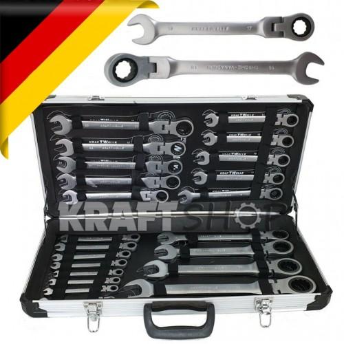 К-т звездогаечни чупещи тресчотни ключове от 6мм до 32мм 22 части в метален куфар KRAFTWELLE Germany