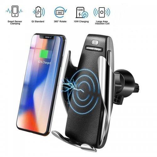 Безжично зарядно за телефон 10W Fast Wireless Charger S5 - универсална стойка за кола