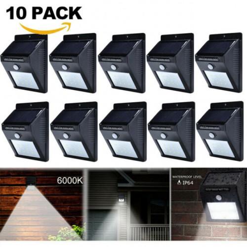 ПРОМО ОФЕРТА : 10бр Мощна Соларна LED лампа със сензор 500lm
