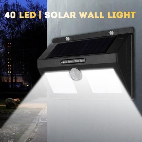 Мощна Соларна LED лампа със сензор  и 40 диода