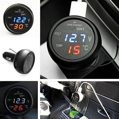 Волтметър , зарядно за кола , термометър за кола VST-706