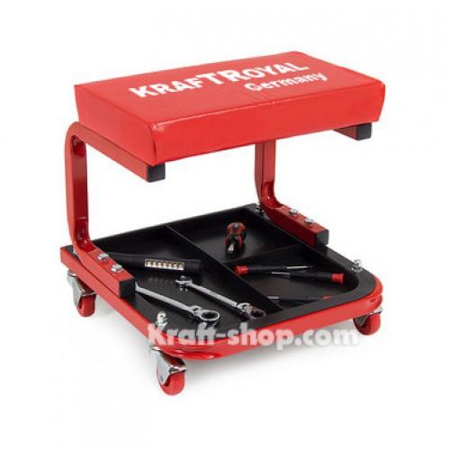Немски работен стол с рафт за инструменти - подвижен стол за автосервиз до 150кг