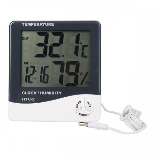 Термометър вътрешна и външна температура, влагомер, часовник