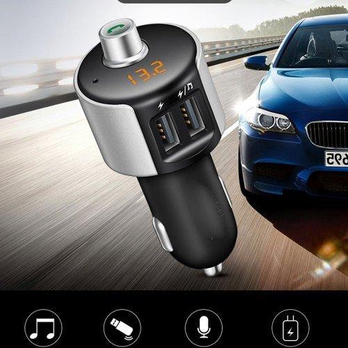 Безжичен Bluetooth FM трансмитер за кола с двойн USB зарядно