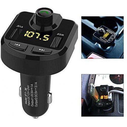 FM трансмитер с Bluetooth за автомобил-  2в1 зарядно за кола с LCD дисплей и 2бр USB вход