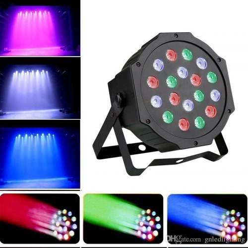 LED Цветен Диско прожектор с 18 диода / Дискотечна лампа