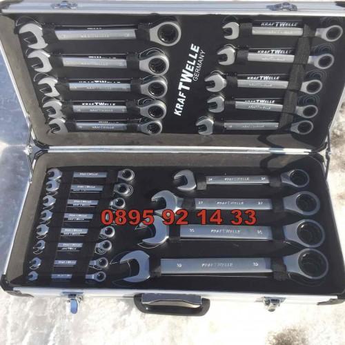 К-т зездогаечни прави тресчотни ключове от 6мм до 32мм 22 части в метален куфар KRAFTWELLE
