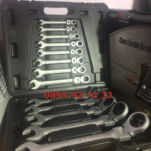 К-т звездогаечни тресчотни ключове с чупещо рамо от 8мм до 32мм 13 части KRAFTWELLE Germany