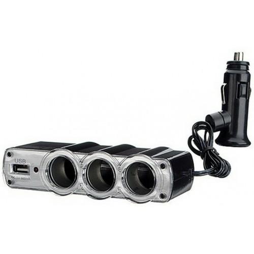 Разклонител на запалка за кола с три гнезда 12v/24v + USB 5v