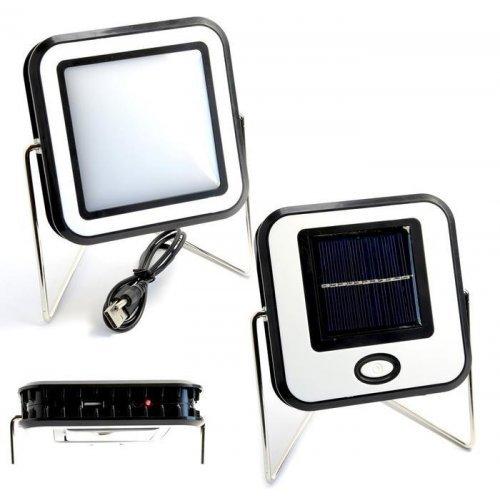 Соларна LED зоомираща лампа със стойка за къмпинг